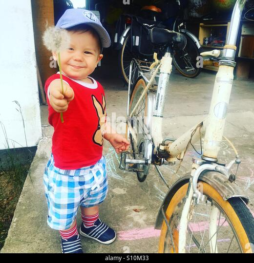 Toddler with a flower in his hand , standing beside an old bike, in front of the garage - Stock Image