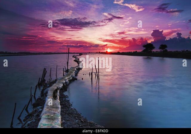 Indonesia, Banten, Tanjung Burung at sunset - Stock Image