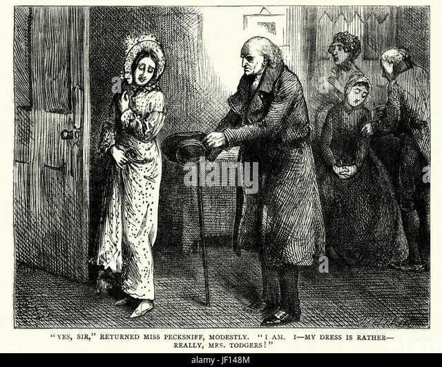 Vintange illustration of a scene from the Charles Dickens novel  Martin Chuzzlewit. Yes, Sir, returned Miss Pecksniff, - Stock Image