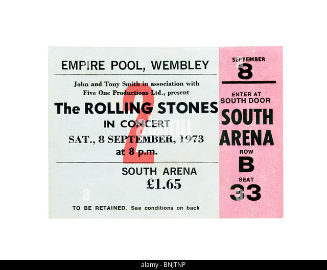 Concert ticket for a Rolling Stones gig at the Empire Pool, Wembley, 8 September 1973. Note ticket price: £1.65! - Stock Image