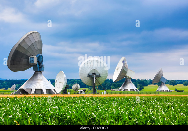 Germany, Europe, travel, antennas, Garching, Bavaria, colourful, communication, radio, technology - Stock-Bilder