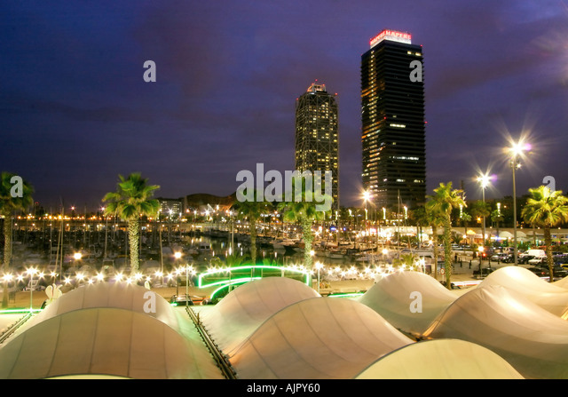 spain Barcelona Barceloneta harbor - Stock Image