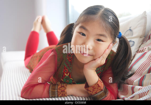 Portrait of Young Girl (6-7 years) - Stock Image
