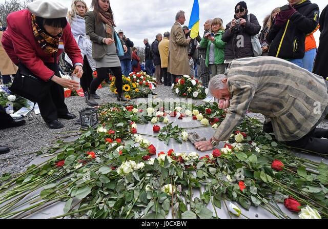 Weimar, Germany. 11th Apr, 2017. dpatop - Akexander Bychok, formerly an inmate of Buchenwald concentration camp, - Stock Image