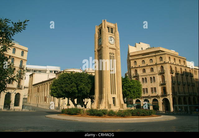 clock tower in downtown, Lebanon, Beirut - Stock Image