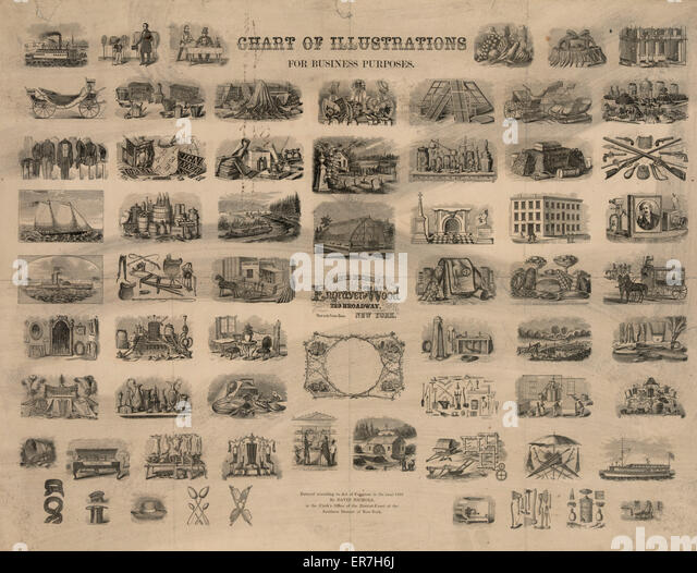 Chart of illustrations for business purposes. Date c1855. - Stock Image