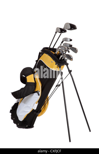 Set of golf clubs on a white background - Stock Image