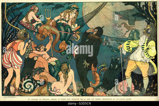 Cartoon, Underwater mythology. In the Kingdom of Neptune, Alceste and Truth are introduced by the god to the sirens - Stock Image