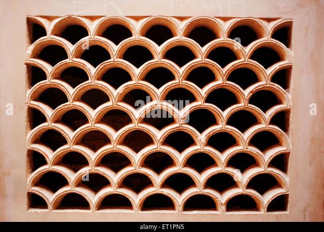 Jali pattern in man mandir palace ; Gwalior ; Madhya Pradesh ; India - Stock Image