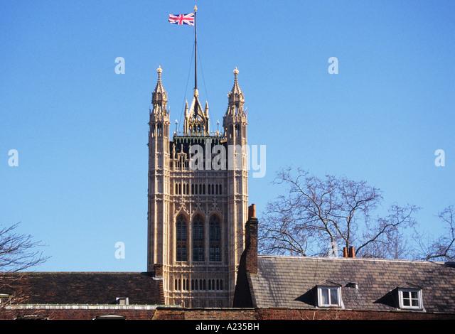 United Kingdom Great Britain London England Victoria's Tower Parliament Square - Stock Image