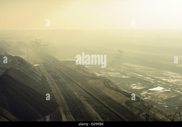 Mining Garzweiler in the fog - Stock Image