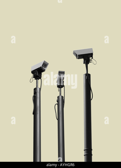 cctv cameras watching each other - Stock Image