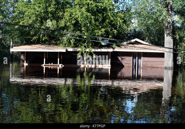Storm flood damaged area in Middleburg, Florida, USA, on September 12, 2017 after Hurricane Irma took an unexpected - Stock Image