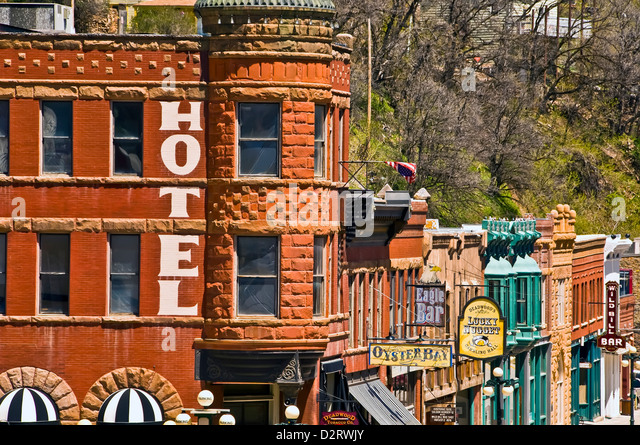 Historic Deadwood city, a national historic landmark, 19th century buildings and signs cityscape, Black Hills, South - Stock Image