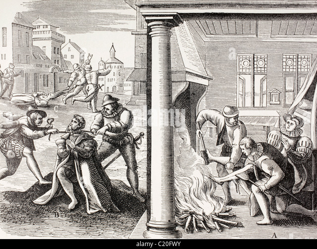16th century propaganda illustrating violence of the French Huguenots against the Catholics. - Stock-Bilder