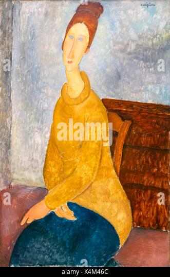 Jeanne Hebuterne with Yellow Sweater, by Amedeo Modigliani, 1918-1919, Solomon R. Guggenheim Museum, Manhattan, - Stock Image