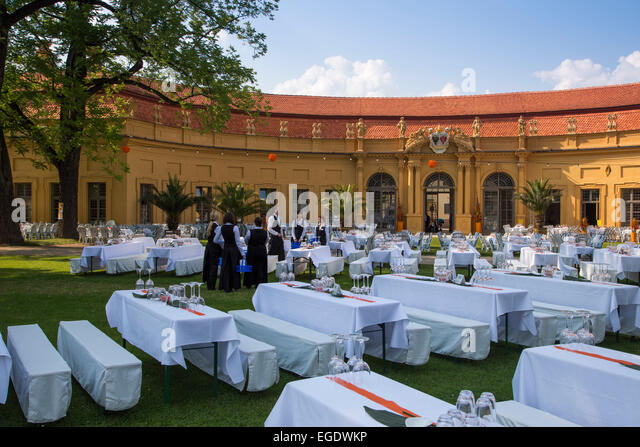Elegant table settings for the formal ball in the castle gardens, hosted by Erlangen University, Erlangen, Franconia, - Stock Image