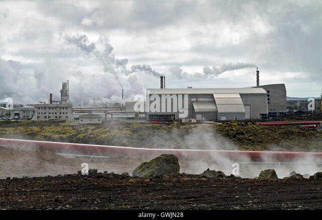Geothermal powerstion built on a lavafield in Iceland - Stock Image
