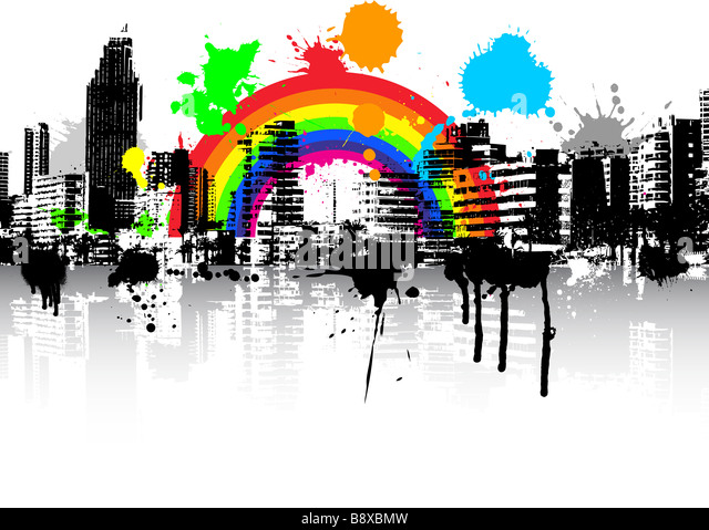 Abstract style urban grunge scene background with rainbow - Stock Image