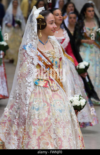 Woman dressed in local costume Valencia Spain - Stock Image