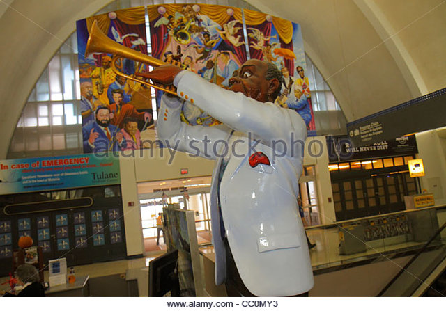 Louisiana New Orleans Louis Armstrong New Orleans International Airport MSY terminal sculpture Louis Armstrong Satchmo - Stock Image