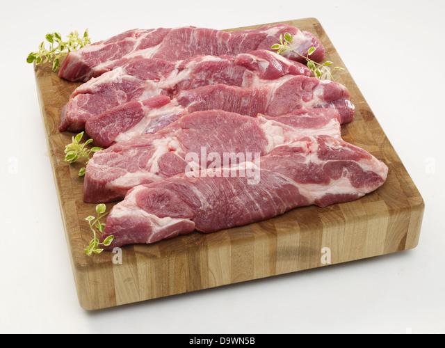 raw pork shoulder boneless - Stock Image