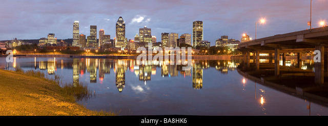 Panoramic night view of Montreal city in Quebec Canada - Stock Image