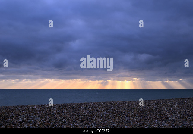 Empty winter seascape ,Worthing - Stock Image