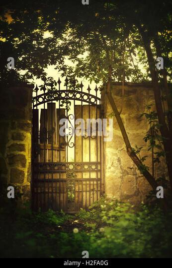 view of the old beautiful gate in garden - Stock-Bilder