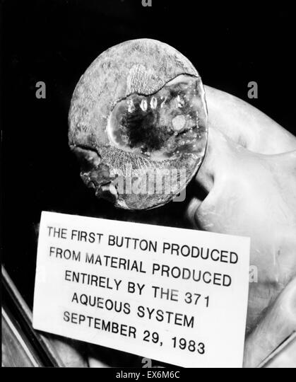 Photograph of the first Plutonium Button produced from the building 371 Aqueous recovery operation at the Rocky - Stock Image