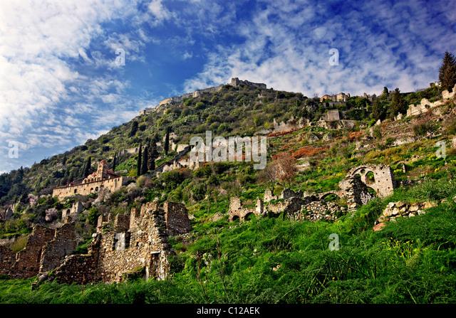 The medieval, byzantine 'castletown' of Mystras, close to Sparta town, Lakonia, Peloponnese, Greece. - Stock Image