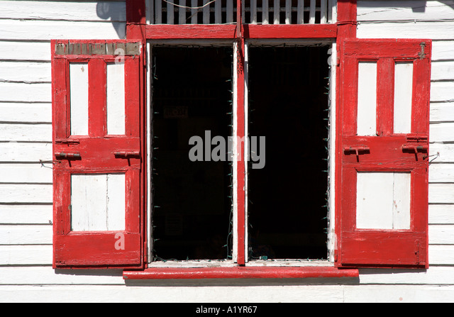Window in a house in the old town, Puerto Plata, North Coast, Dominican Republic - Stock Image