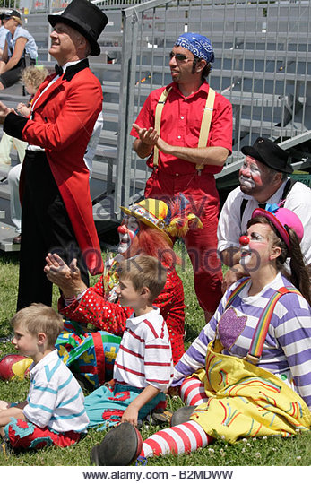 Wisconsin Kenosha Kenosha County Fairgrounds The Ultimate Kid Fest family event circus family ringmaster clowns - Stock Image