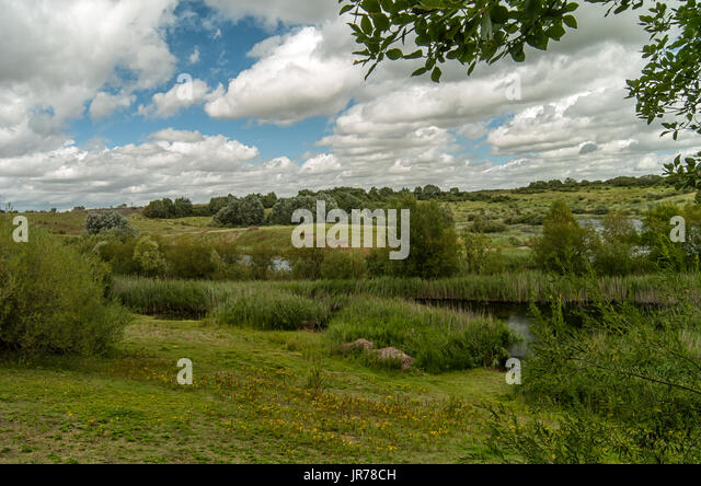 Kings Dyke nature reserve Whittlesey 3st August 2017: Sun and clouds on a warm dry day for wildlife and nature by - Stock Image