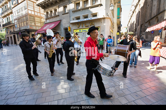 Band in the streets of Palma, Mallorca, Majorca, Spain, Europe - Stock-Bilder