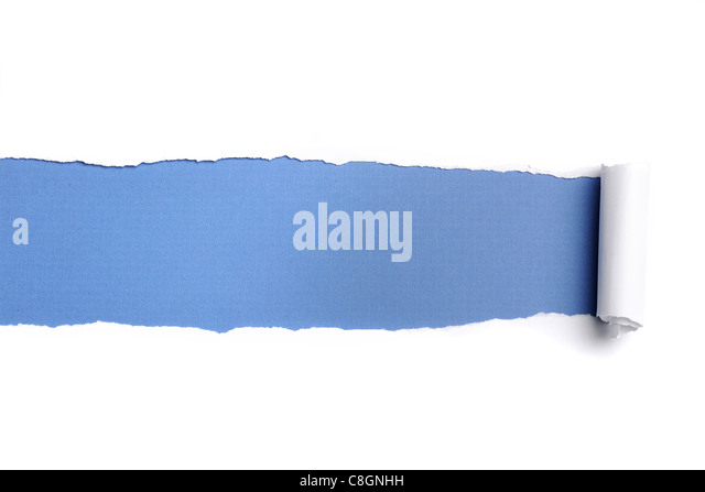 Torn Paper with space for text against a blue background - Stock Image