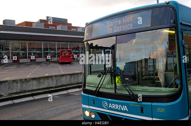 Arriva Bus at Warrington Interchange,Town Centre,WBC,Cheshire, England,UK - Stock Image