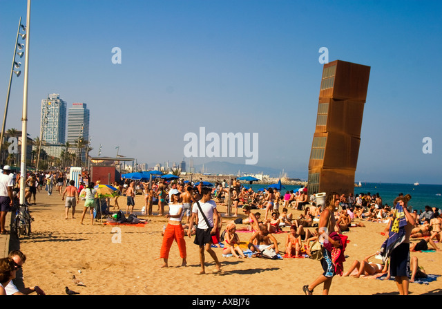 Spain Barcelona beach Platja de la Barceloneta people Sculture by Rebecca Horn - Stock Image