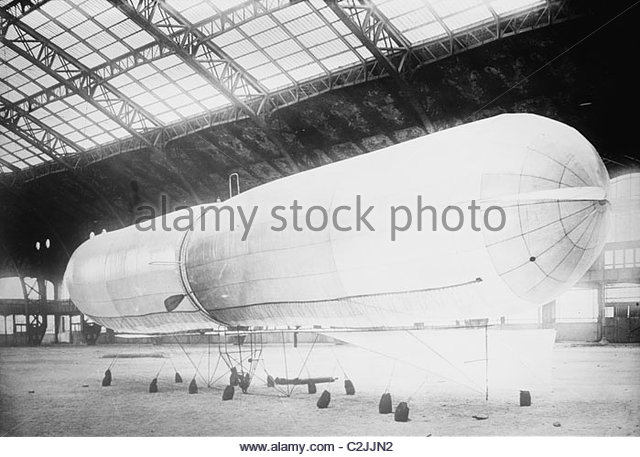 Dirigible balloon on Baron E. DeMarcay - Stock Image