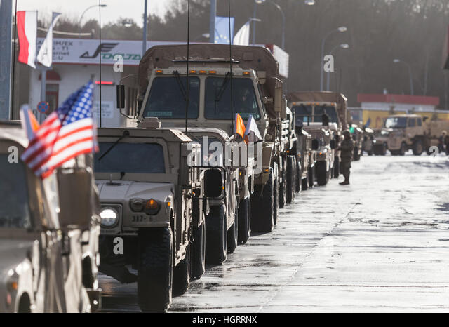 Olszyna,  Poland 12th Jan, 2017 American soldiers are pictured during a welcome ceremony at the Polish-German border - Stock Image