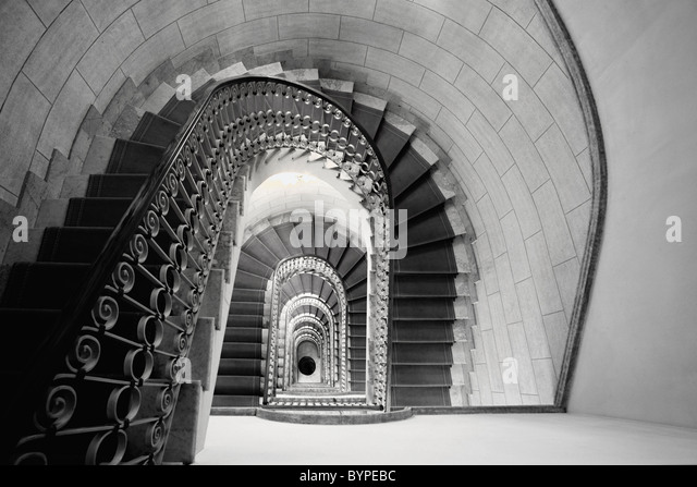 Staircase Perspective, Marriott Grand Flora Hotel, Rome, Italy - Stock Image