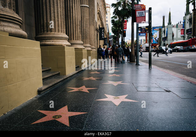 The Hollywood Walk of Fame, in Hollywood, Los Angeles, California. - Stock Image