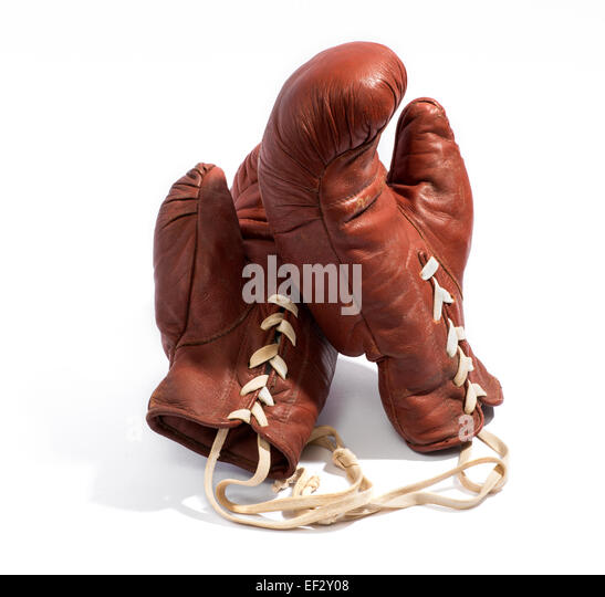 Vintage brown leather boxing gloves - Stock Image