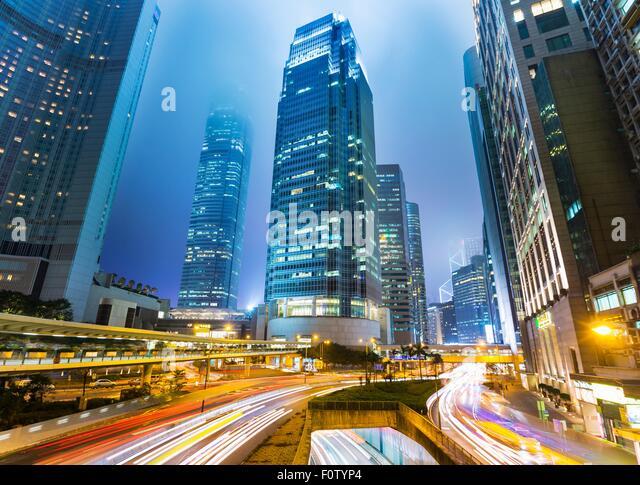 Central Hong Kong skyline with IFC building, Hong Kong, China - Stock Image