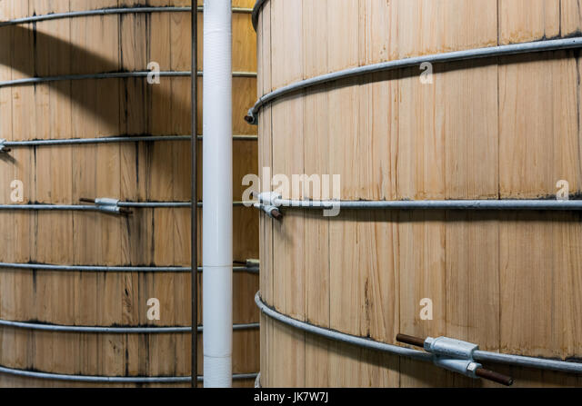 New Bourbon Mash Tanks Close Up in distillery - Stock Image