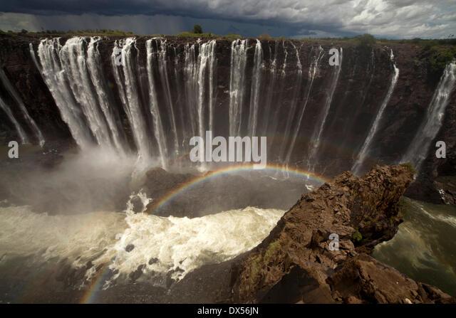 Rainbow at Rainbow Falls, Victoria Falls, Zimbabwe - Stock Image