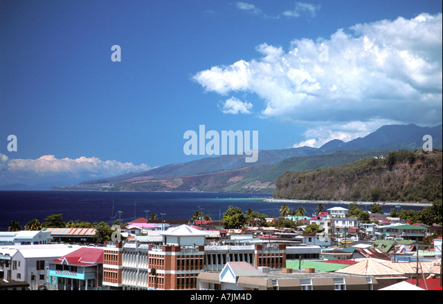 Dominica West Indies Caribbean Roseau Waterfront and Coastline - Stock Image