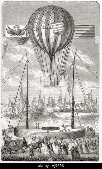 First flight with a dirigible balloon from Dijon Louis Bernard Guyton de Morveau - Stock Image