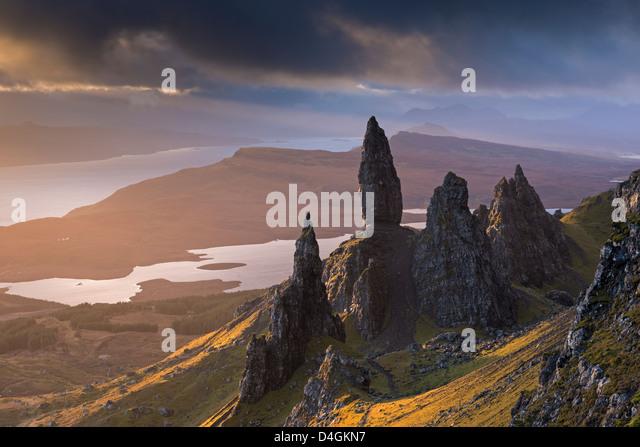 Old Man of Storr basalt pinnacles on the Isle of Skye, Scotland. Winter (November) 2012. - Stock Image