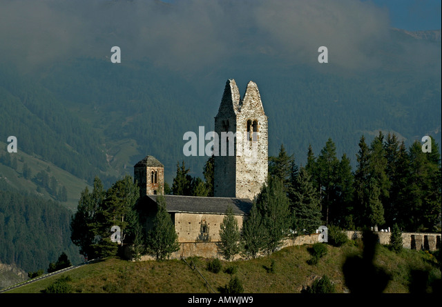 Switzerland old church ruins near St Moritz - Stock Image